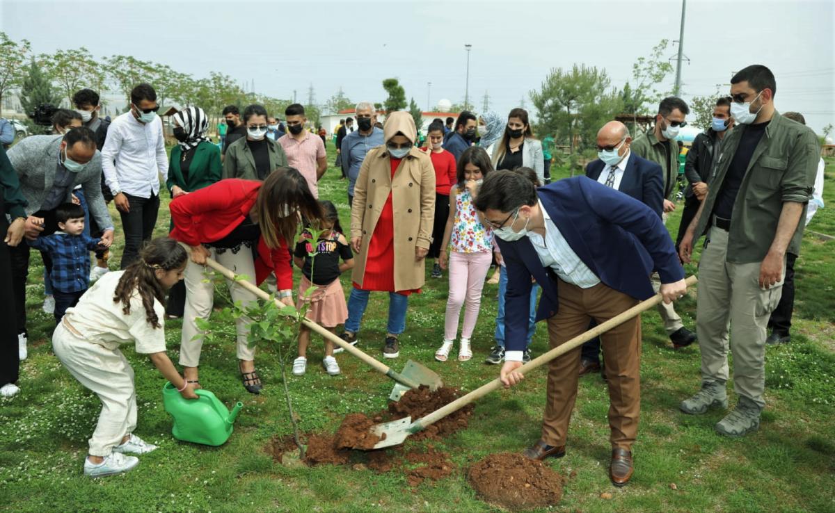 Kızıltepe İlçesinde Bin Fidan Toprakla Buluştu