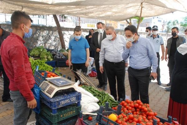 Midyat'ta pazar yeri denetlemesi